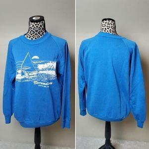 Vintage Torremolinos crew neck sweatshirt top blue